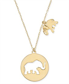 "kate spade new york Gold-Tone Elephant Cut-Out Pendant Necklace, 15-1/2"" + 3"" extender"