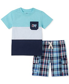 Kids Headquarters Baby Boys 2-Pc. Colorblocked T-Shirt & Plaid Shorts Set