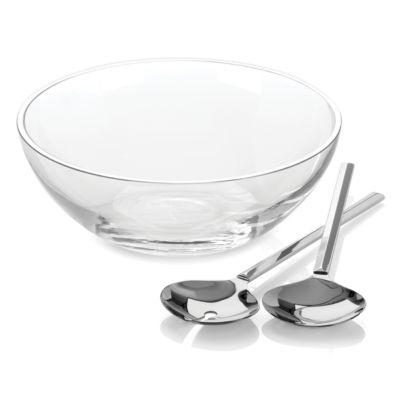 new york Gramercy Salad Bowl Set with Metal Servers