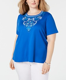 Alfred Dunner Plus Size Waikiki Embroidered Top