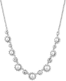 """Marchesa Silver-Tone Crystal & Imitation Pearl Collar Necklace, 16"""" + 3"""" extender"""