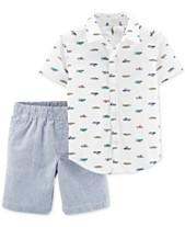 dc5a0e651 Carter s Baby Boys 2-Pc. Cotton Printed Shirt   Striped Shorts Set