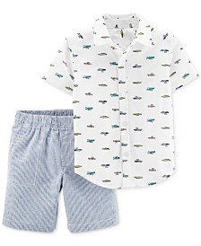 Carter's Baby Boys 2-Pc. Cotton Printed Shirt & Striped Shorts Set
