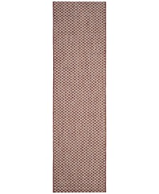 "Safavieh Courtyard Rust and Light Grey 2'3"" x 12' Sisal Weave Runner Area Rug"