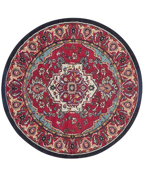 Safavieh Monaco Red and Turquoise 5' x 5' Round Area Rug