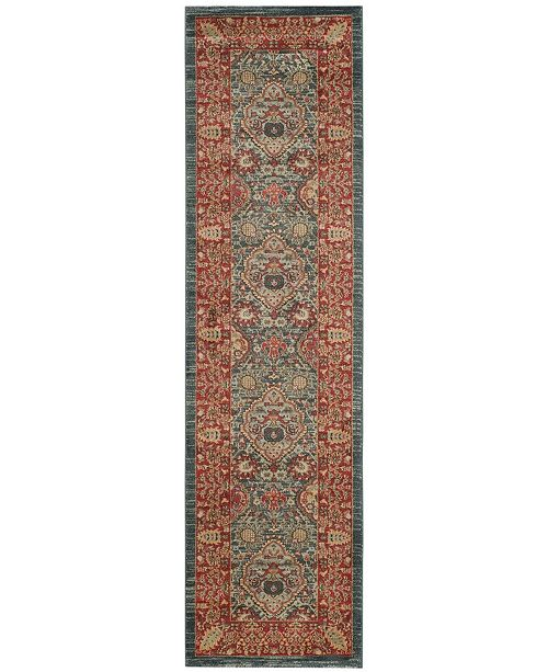 """Safavieh Mahal Navy and Red 2'2"""" x 12' Runner Area Rug"""