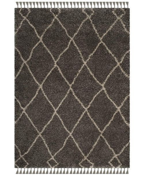 Safavieh Moroccan Fringe Shag Gray and Cream 4' X 6' Area Rug