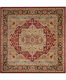 """Mahal Natural and Navy 5'1"""" x 5'1"""" Square Area Rug"""
