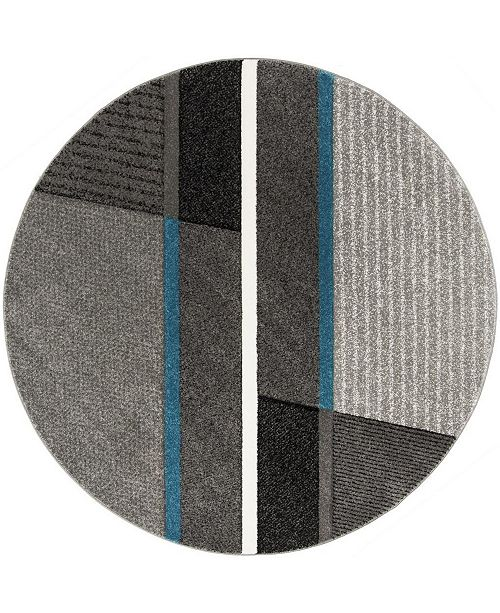 "Safavieh Hollywood Gray and Teal 6'7"" x 6'7"" Round Area Rug"