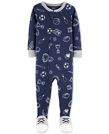Carter's Baby Boys Sports-Print Footed Cotton Pajamas