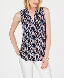 Charter Club Petite Printed Pleat-Neck Top, Created for Macy's