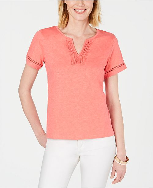 Charter Club Split-Neck Cotton Top, Created for Macy's