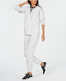 Ideology Lace-Up Hoodie & Joggers, Created for Macy's