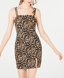 Crystal Doll Juniors' Animal-Print Dress