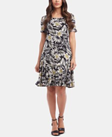 Karen Kane Printed Ruffle-Hem Dress