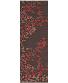 "Safavieh Courtyard Chocolate and Red 2'3"" x 12' Sisal Weave Runner Area Rug"
