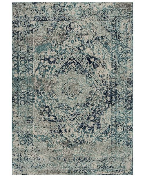 "Safavieh Madison Ivory and Blue 2'3"" x 10' Sisal Weave Runner Area Rug"