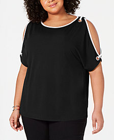Belldini Plus Size Cold-Shoulder Top