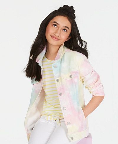 Epic Threads Big Girls Tie Dyed Denim Jacket, Created for Macy's