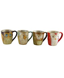 4 Piece Owl Shape Mug Set
