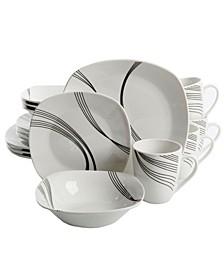 16 Piece Soft Square Dinnerware Set