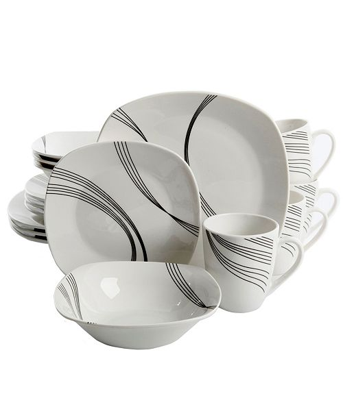Curvation 16 Piece Soft Square Dinnerware Set