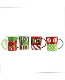 Holiday Wrap 4 Piece 15 Ounce Assorted Funky Mug Set