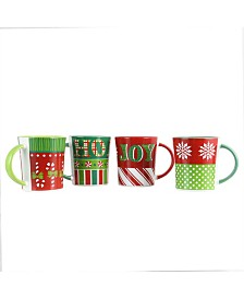Holiday Wrap 4 Piece 15 Ounce Assorted Funky Mug Set