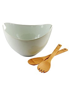 3 Piece Porcelain Serving Bowl with Wooden Serveware