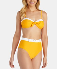 Raisins Juniors' West Coast Bondi Bandeau Bikini Top & High-Waist Belted Bikini Bottom
