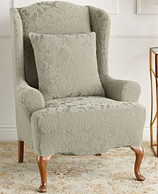 Stretch Jacquard Damask Wing Chair Slipcover