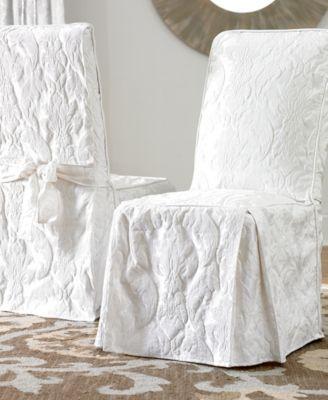 Matelasse Damask Dining Room Chair Slipcover