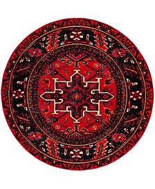 "Vintage Hamadan Red and Multi 6'7"" x 6'7"" Round Area Rug"