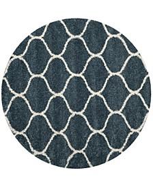 Hudson Slate Blue and Ivory 7' x 7' Round Area Rug