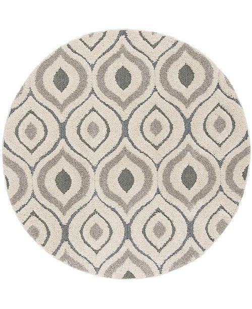 "Safavieh Shag Cream and Light Blue 6'7"" x 6'7"" Round Area Rug"