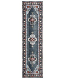 "Vintage Persian Blue and Light Blue 2'2"" x 8' Runner Area Rug"