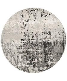 Safavieh Retro Light Gray and Gray 6' x 6' Round Area Rug