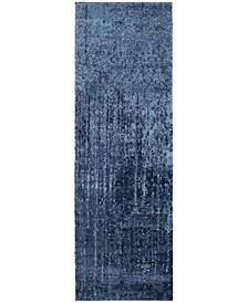 "Retro Light Blue and Blue 2'3"" x 11' Runner Area Rug"