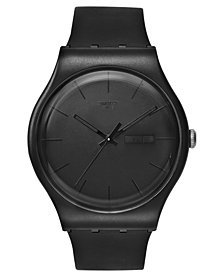 Swatch Watch, Unisex Swiss Black Rebel Black Silicone Strap 41mm SUOB702