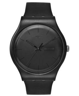 SWATCH Watch, Unisex Swiss Black Rebel Black Silicone Strap 41Mm Suob702