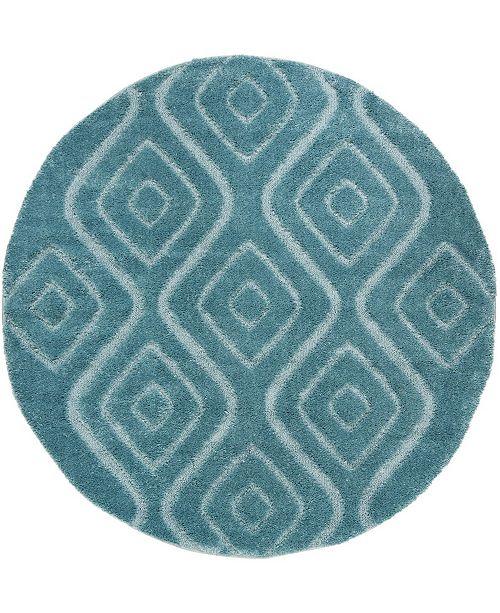 """Safavieh Olympia Blue 6'7"""" x 6'7"""" Round Area Rug"""