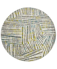 """Skyler Gray and Green 6'7"""" x 6'7"""" Round Area Rug"""
