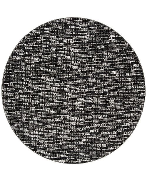 "Safavieh Porcello Light Gray and Charcoal 6'7"" x 6'7"" Round Area Rug"