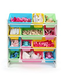 Kids Wood Toy Organizer with 12 Plastic Bins