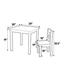 Kids Wood Table and 2 Chairs Set