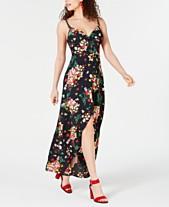 0e3417579f2e B Darlin Juniors' Printed Button-Front Maxi Dress