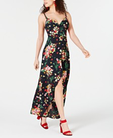 B Darlin Juniors' Printed Button-Front Maxi Dress