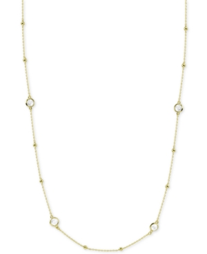 """Argento Vivo Accessories CRYSTAL BEZEL & BEAD 36"""" CHAIN NECKLACE IN GOLD-PLATED STERLING SILVER"""