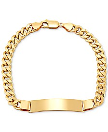 Men's Curb Link ID Bracelet in 10k Gold