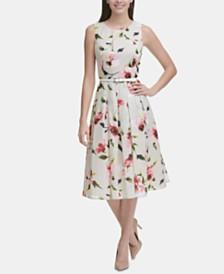 Tommy Hilfiger Belted Floral Fit & Flare Midi Dress